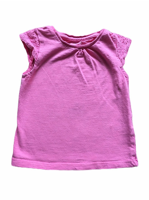Nutmeg 1-1.5 years Pink T-shirt with Lace Cap Sleeves