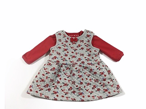 Nutmeg 0-3 months Grey Floral Dress with Long Sleeve Red Top