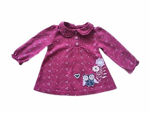 TU 0-3 months Pink Long Sleeve Owl Top