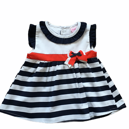 Lordling 6-9 months Spanish Navy, White and Red Striped Dress