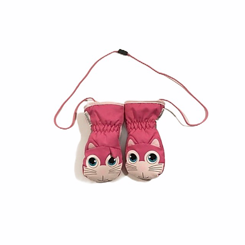 Snowlife 0-1 years Pink Wind and Water Repellent Cat Mittens