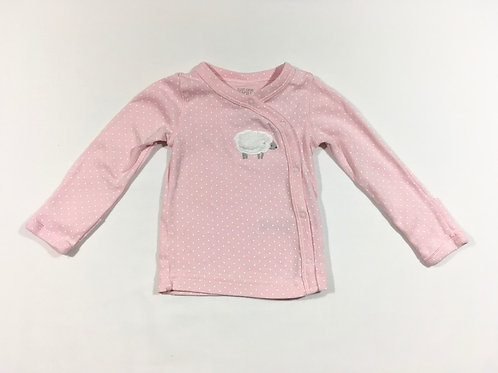 Carters 3-6 months Pink Polka Dot Long Sleeve Top with Built In Scratch Mitts