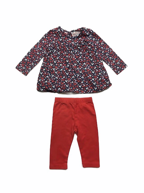 TU 0-3 months Floral Long Sleeve Top and Legging set