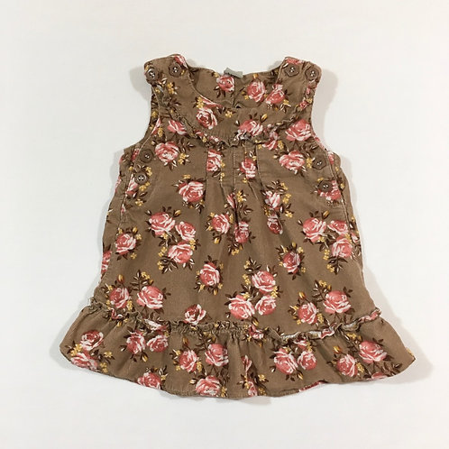 TU 3-6 months Brown Cord Dress with Roses