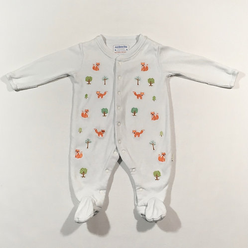 JoJo Maman Bebe 0-3 months White Sleepsuit with Foxes and Trees