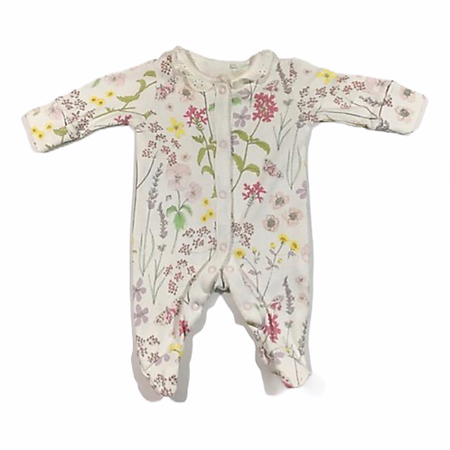 Next First Size Floral Sleepsuit with Built in Scratch Mitts