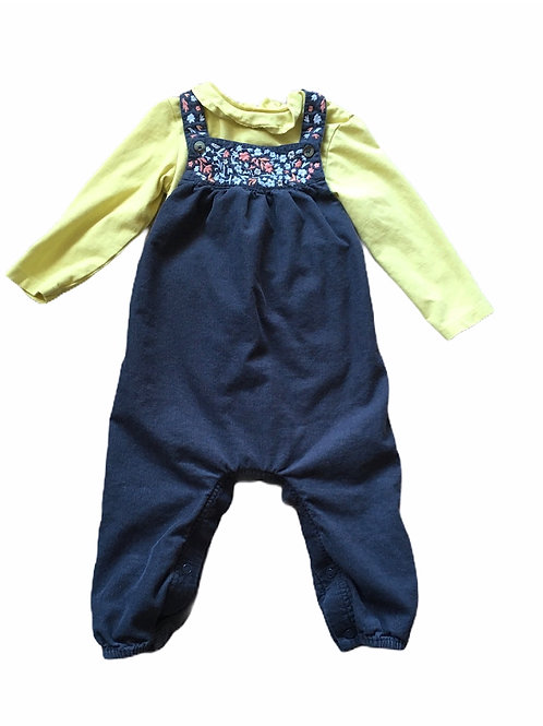 M&S 12-18 months Charcoal Grey Embroidered Dungarees with Bodysuit