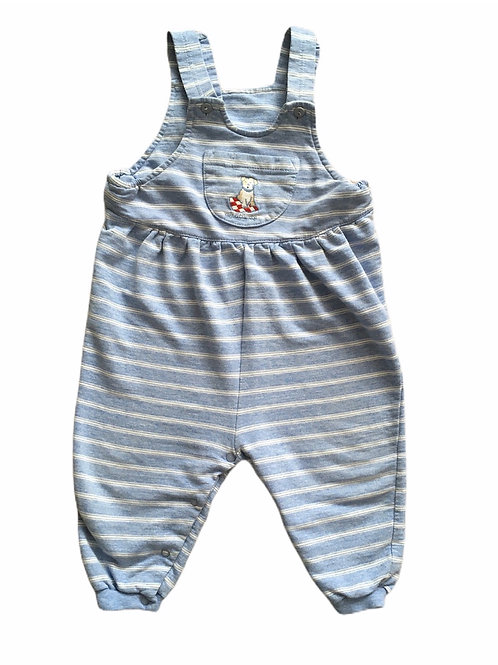 George 12-18 months Blue and White Striped Dog Dungarees
