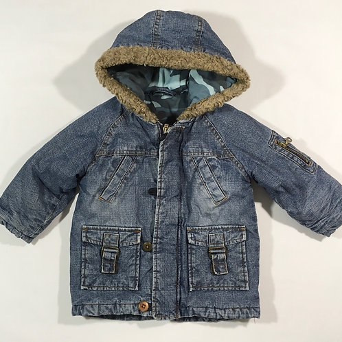 Mothercare 1-1.5 years Denim Padded Hooded Coat