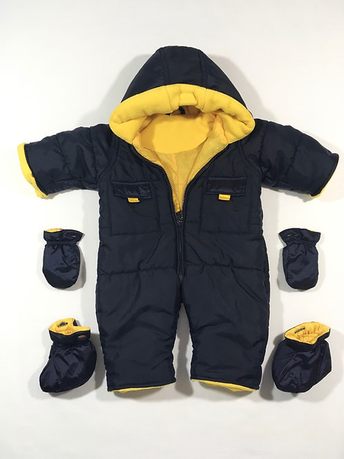 Mothercare 0-3 months Navy & Yellow Pramsuit with Detachable Booties & Mittens