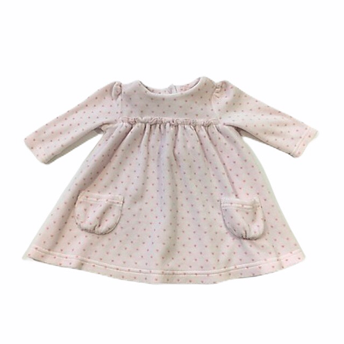 Next 0-3 months Baby Pink Long Sleeve Velour Dress with Hearts