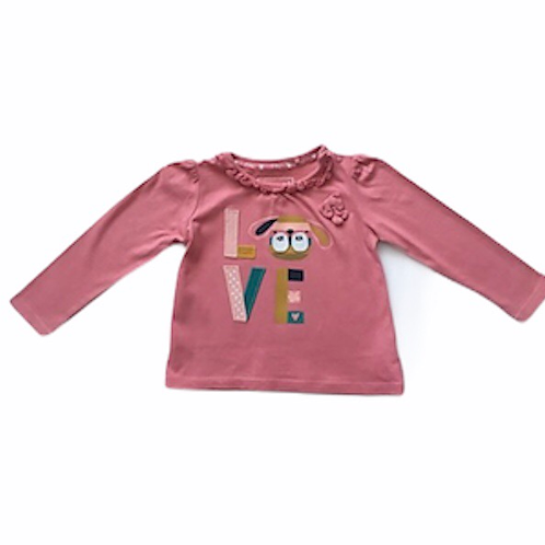 TU 6-9 months Pink Long Sleeve Puppy Love Top