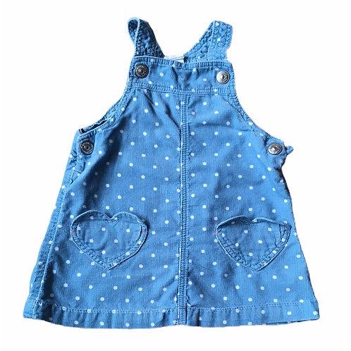 H&M 6-9 months Blue Polka Dot Cord Pinafore Dress