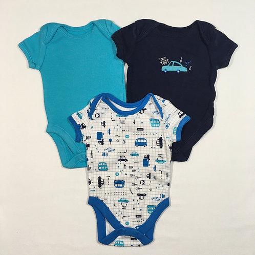 George 0-3 months 3 x Short Sleeve Car Bodysuits