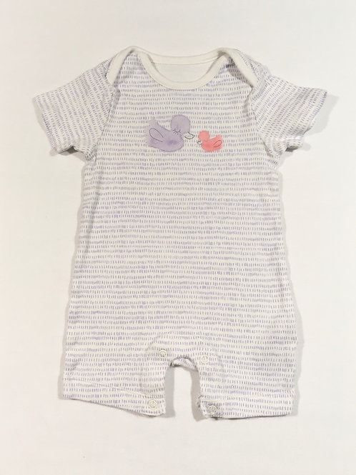 M&S 3-6 months Lilac and White Duck Romper