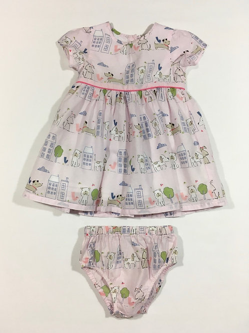 John Lewis 3-6 months Baby Pink Dog Dress with Matching Nappy Cover