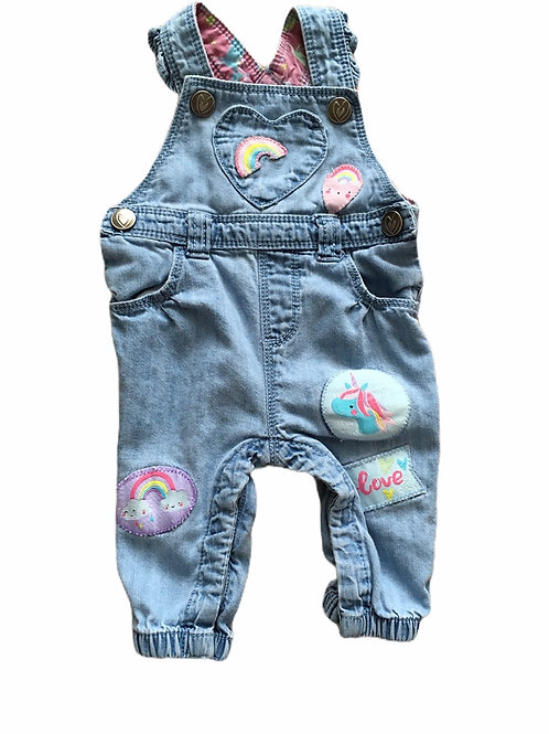 TU Up to 3 months Unicorn and Rainbow Dungarees