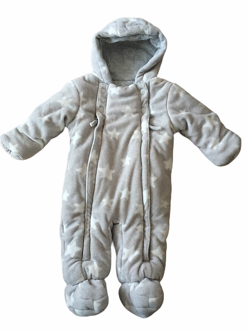 M&S 3-6 months Grey with White Stars Fleece Snowsuit/Pramsuit with Hood
