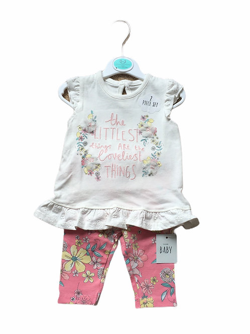 George 0-3 months Top and Floral Leggings Set - BRAND NEW