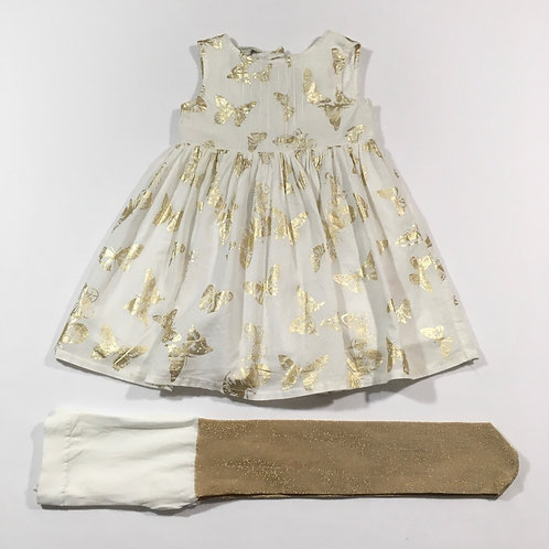 Monsoon 6-12 months Cream and Gold Butterfly Dress with Brand New Gold Tights