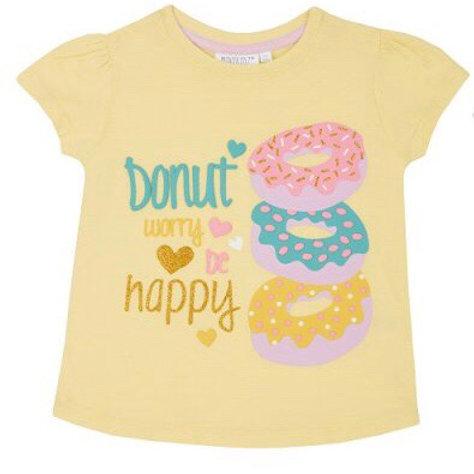 Mini Kidz 2-3 years Yellow 'Donut Worry Be Happy' T-Shirt - BRAND NEW