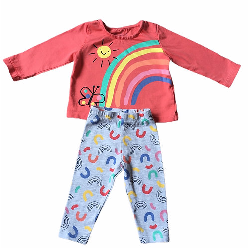 F&F Up to 3 months Rainbow 2 Piece Set (Playwear)