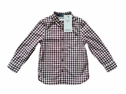 M&S 2-3 years Burgundy and White Check Long Sleeve Shirt - BRAND NEW