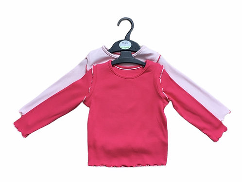 Ex High Street 4-5 years 2 Pack of Pink Long Sleeve Ribbed Tops - BRAND NEW
