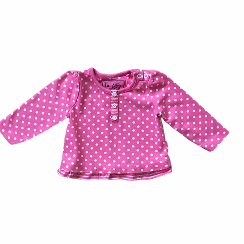 TU Up to 1 month Pink Polka Dot and Striped Long Sleeve Top