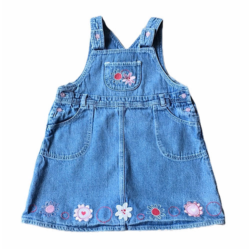 George 12-18 months Denim Floral Pinafore Dress