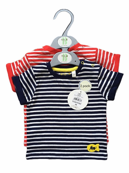 Mini B @ BHS 18-24 months 2 Pack of T-shirts (Navy/White & Red/White)- BRAND NEW