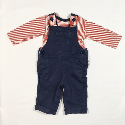 M&S 0-3 months Dungaree and Long Sleeve Top Set