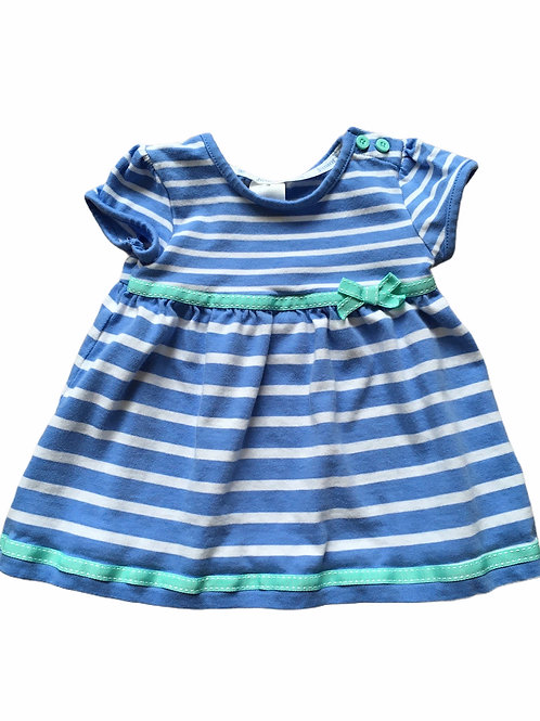 Junior J 0-3 months Blue and White Striped Dress