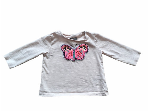 Next 6-9 months Pale Pink Butterfly Long Sleeve Top