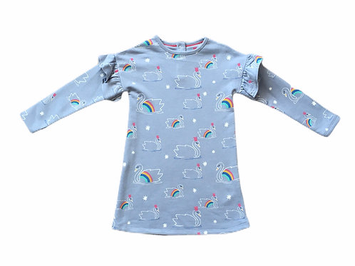 Ex High Street 2-3 years Long Sleeve Rainbow Swan Dress - BRAND NEW