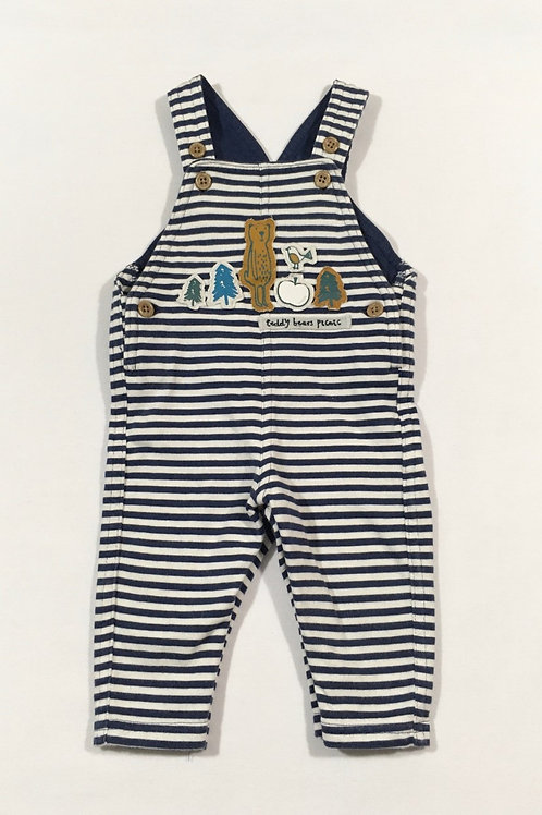 M&S 0-3 months Navy and White Striped Bear Dungarees