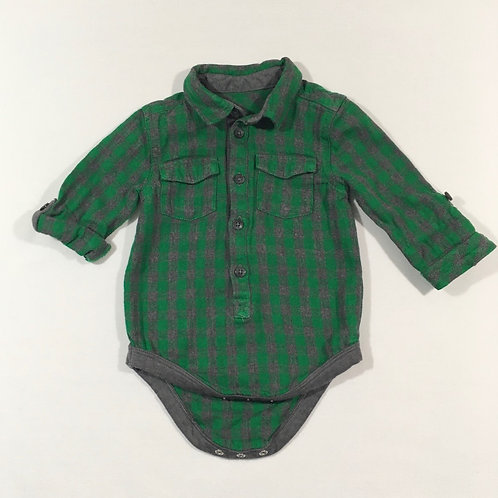 George 6-9 months Green and Grey Check Long Sleeve Bodysuit