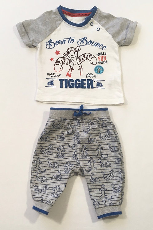 George 0-3 months Tigger T-shirt and Joggers (faint mark on t-shirt)