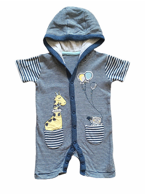 George 3-6 months Blue and White Striped Animal Hooded Romper
