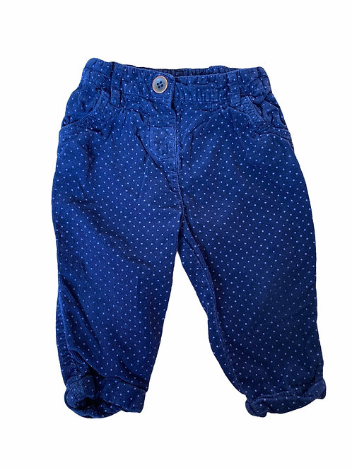 TU 9-12 months Navy Cord Trousers with Lilac Polka Dots