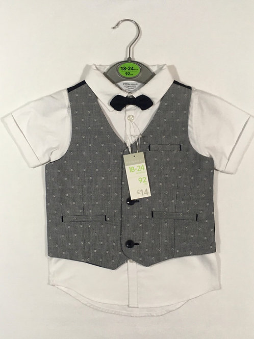 Primark 18-24 months 3 Piece Suit - Waistcoat, Shirt and Bow Tie - BRAND NEW