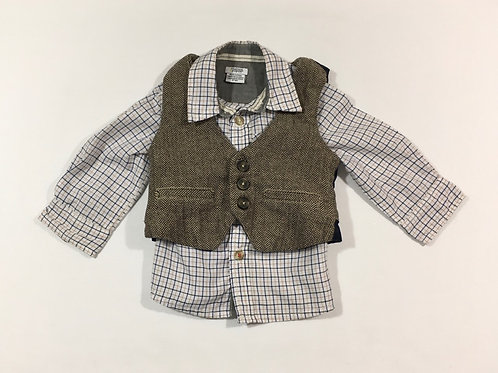 Mamas & Papas 6-9 months Long Sleeve Shirt and Tweed Waistcoat