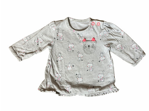 George First Size Grey Long Sleeve Cat Top