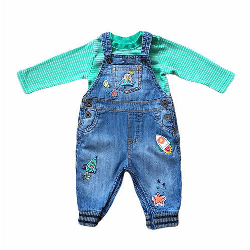 Next 3-6 months Space Dungarees and Bodysuit Set