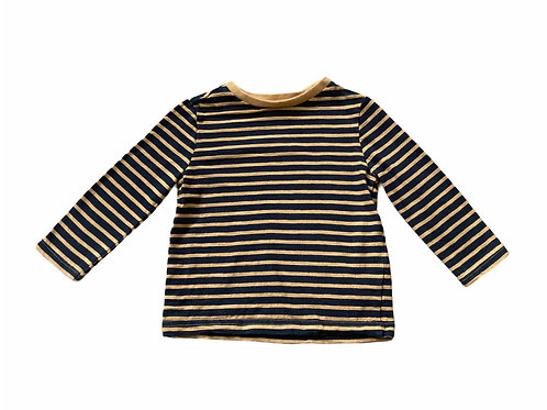 F&F 12-18 months Mustard and Black Striped Long Sleeve Top