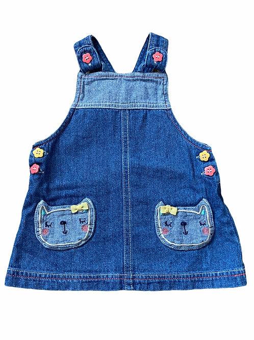 Nutmeg 3-6 months Cat Denim Pinafore Dress