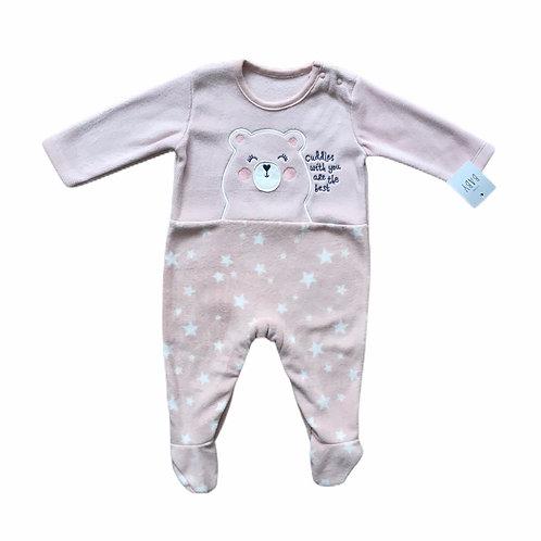 George 3-6 months Dusky Pink Bear Fleece Sleepsuit – BRAND NEW