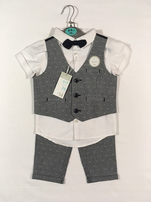 Primark 6-9 months 4 Piece Suit - Waistcoat, Shirt, Trousers & Bow Tie-BRAND NEW