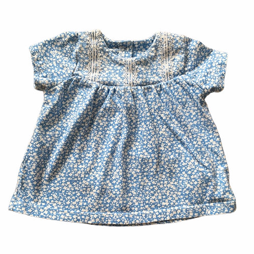 M&S 3-6 months Blue and White Floral Top