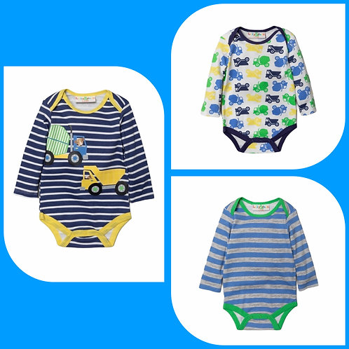 Lily & Jack 6-12 months 3 x Long Sleeve Digger Bodysuits - BRAND NEW